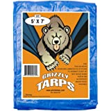 Grizzly Tarps 5 x 7 Feet Blue Multi Purpose Waterproof Poly Tarp Cover 5 Mil Thick 8 x 8 Weave