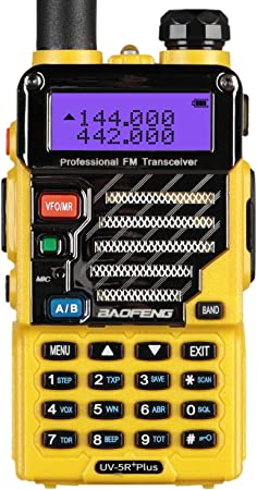 BaoFeng UV-5R Plus Qualette 5W Dual Band Two Way Radio Walkie Talkies Imperial Yellow