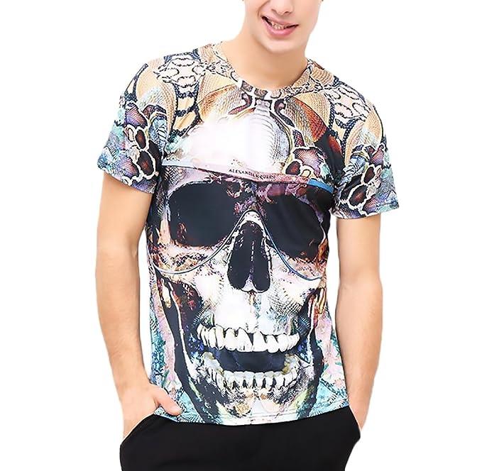 new concept 23760 0085a T Shirt Uomo Estivi Manica Corta Girocollo 3D Digitale ...