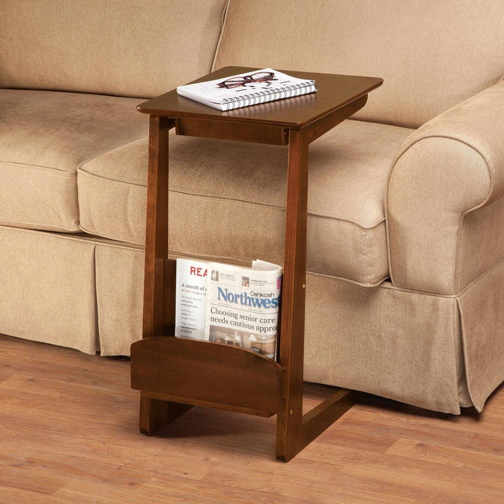 OakRidge Newport C-Shaped Accent Table with Drawer, Mahogany Under the Sofa Side Table 15 13 16 W x 27 H x 19 D