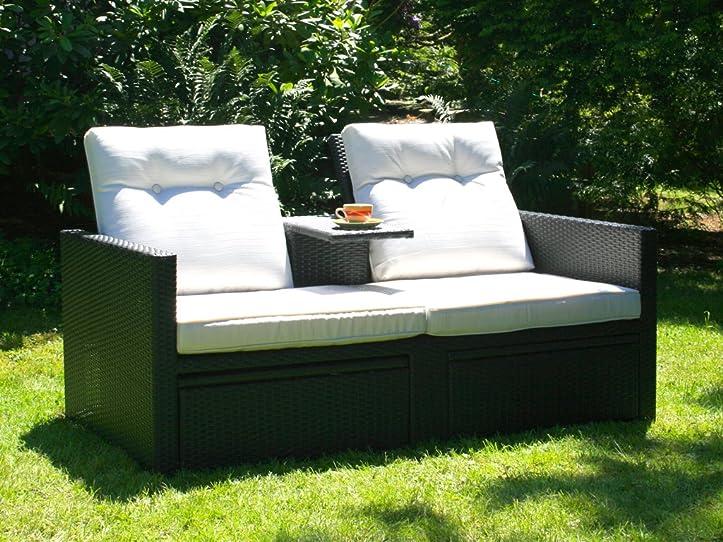 Gartenliege rattan grau  Amazon.de: Polyrattan Liege Sonnenliege schwarze Doppelliege