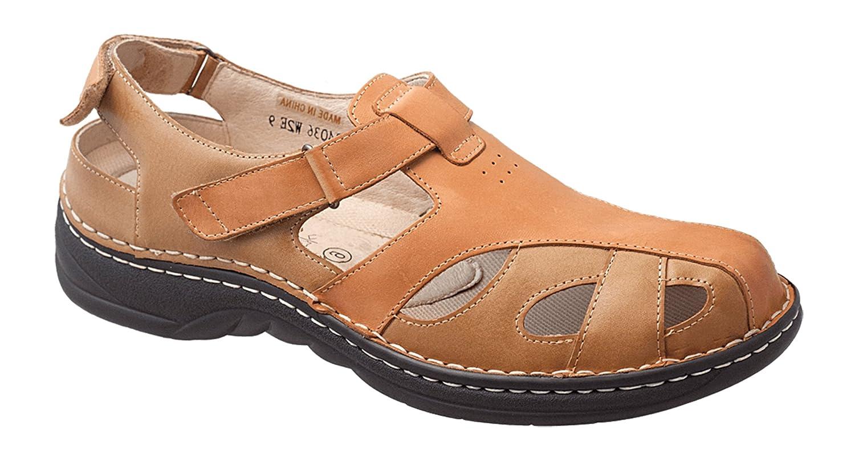 Hoopoe Men's Maurice P4036 Comfort Diabetic Orthopedic Sandal 10.5 W US|Brown