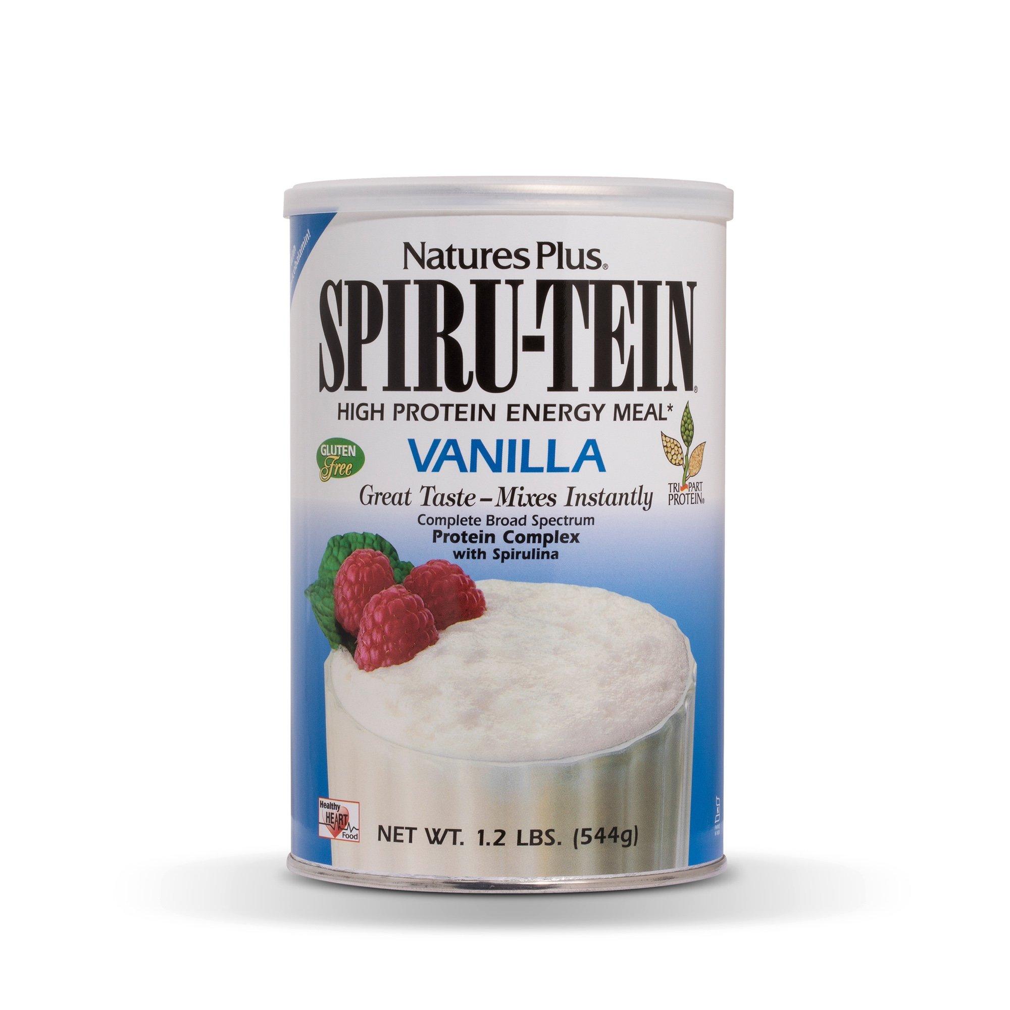 NaturesPlus SPIRU-TEIN Shake - Vanilla - 1.2 lbs, Spirulina Protein Powder - Plant Based Meal Replacement, Vitamins & Minerals For Energy - Vegetarian, Gluten-Free - 16 Servings by Nature's Plus
