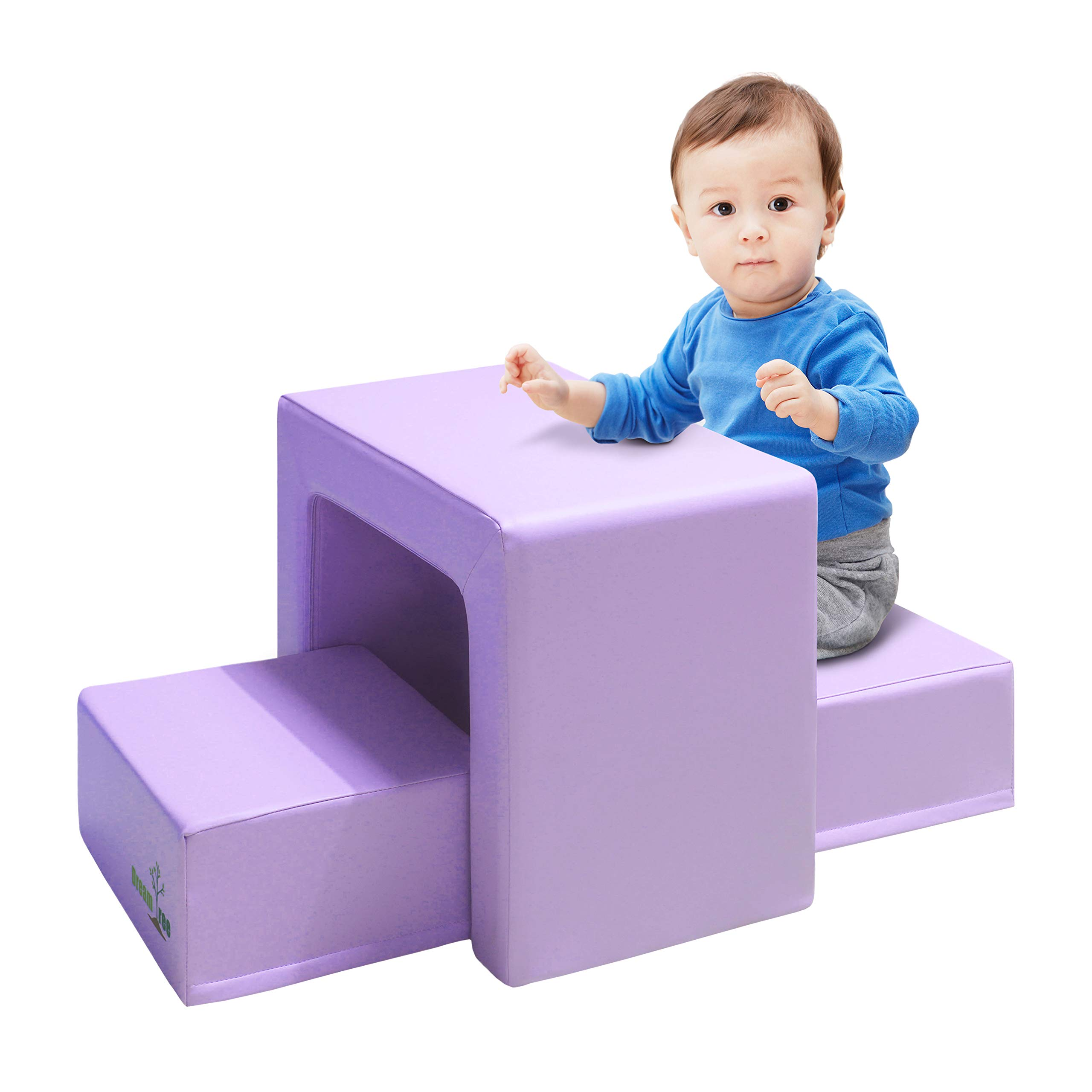 Dream Tree Toddler Table and Chair Set (Stool Type) Washable, Safe Non-Toxic CPSIA Compliant Soft Foam Furniture for Baby, Kids, and Child - Lavender