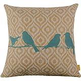 """Cotton Linen Decorative Throw Pillow Case Cushion Cover (Blue Bird) 18 """"X18"""""""