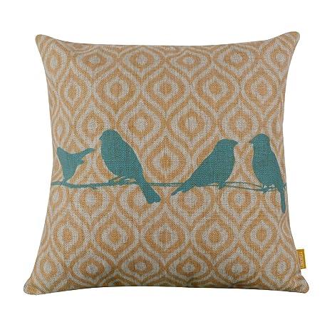 Amazon Cotton Linen Decorative Throw Pillow Case Cushion Cover Extraordinary Decorative Throw Pillows With Birds
