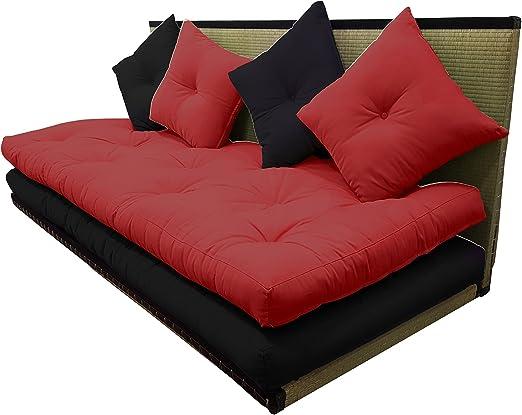 Futon On Line Tatami Sofa Rot Schwarz 80x200 Cm Amazon De Kuche Haushalt