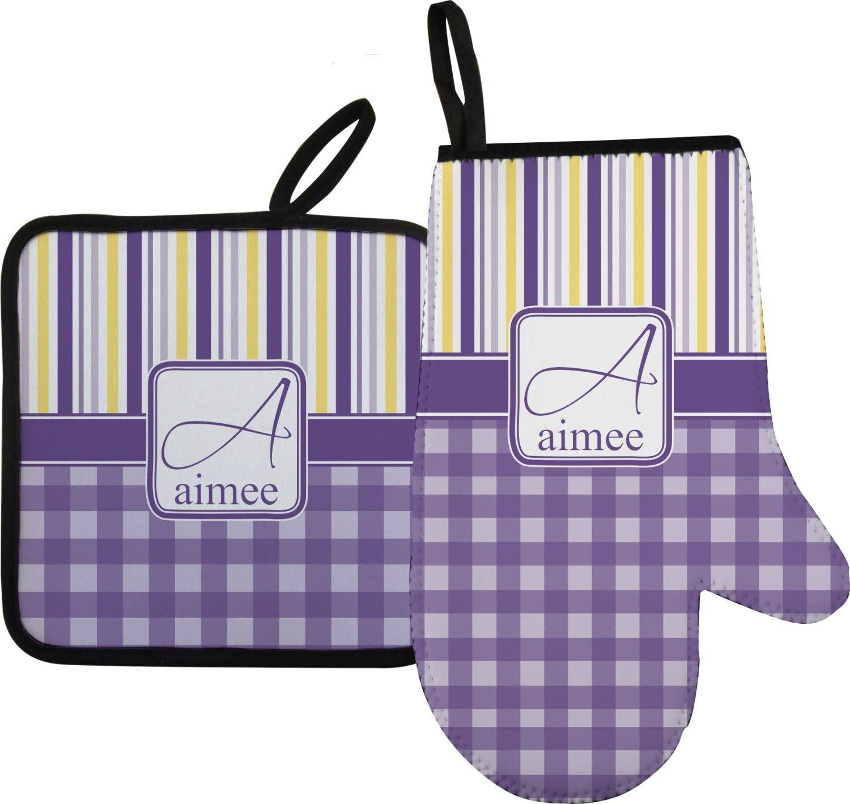 YouCustomizeIt Purple Gingham & Stripe Oven Mitt & Pot Holder (Personalized)