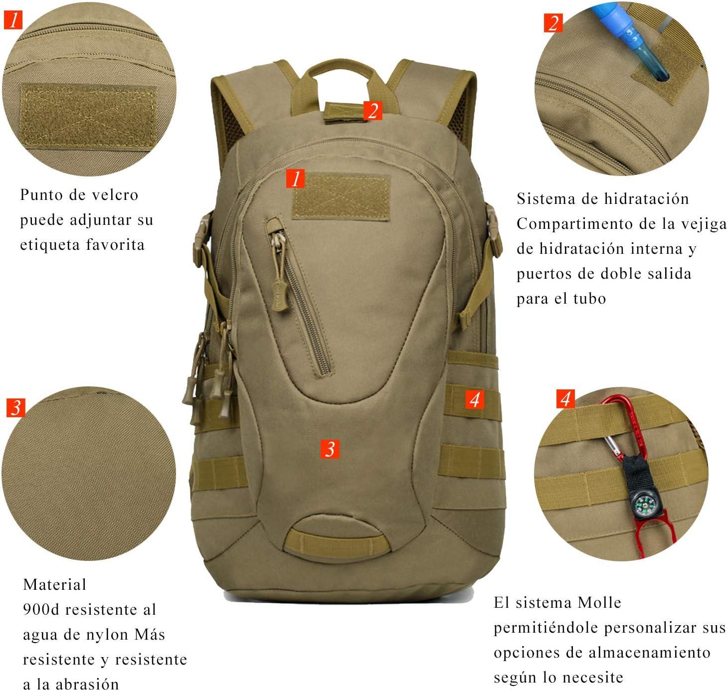 Camping Monta/ñismo FreeWalk Mochila T/áctica Militar Mochila de Asalto Molle Mochilas de Senderismo Unisex para Excursionismo Trekking