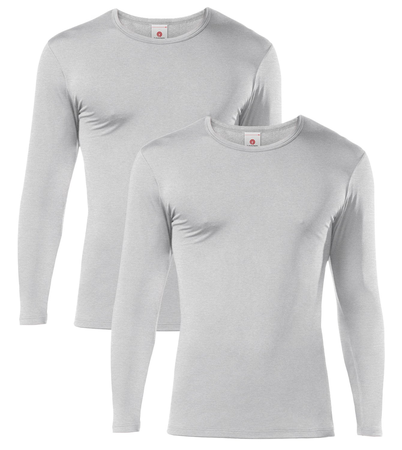 LAPASA Men's Lightweight Thermal Underwear Tops Fleece Lined Base Layer Long Sleeve Shirts 2 Pack M09 (Small, Grey)