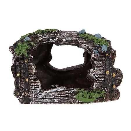 OWIKAR Cubo de vino para decoración de acuario, de resina, de madera de marino, para simulación, decoración de acuario, pecera, pecera, cubo antiguo, ...