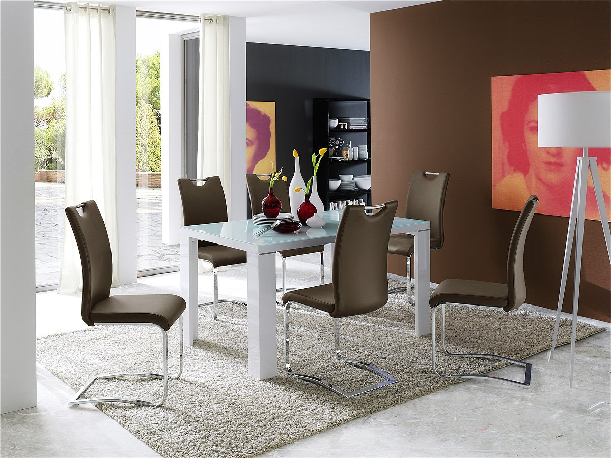 Weisser tisch mit dunkler platte elegant runder in wei cm for Weisser tisch mit dunkler platte