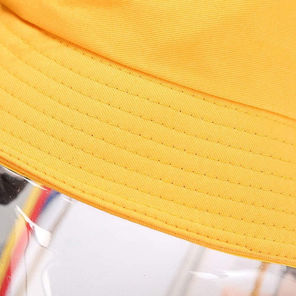 Domybest Chapeau de Protection Anti-crachats Chapeau de P/êcheur Anti-bu/ée Coupe-Vent Anti-poussi/ère Chapeau avec Protection Faciale Amovible Visi/ère Transparente pour Adultes et Enfants