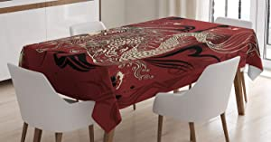 Ambesonne Dragon Tablecloth, Angry Dragon Doodle on Grunge Background Japanese Eastern Ethereal Pattern Print, Rectangular Table Cover for Dining Room Kitchen Decor, 60