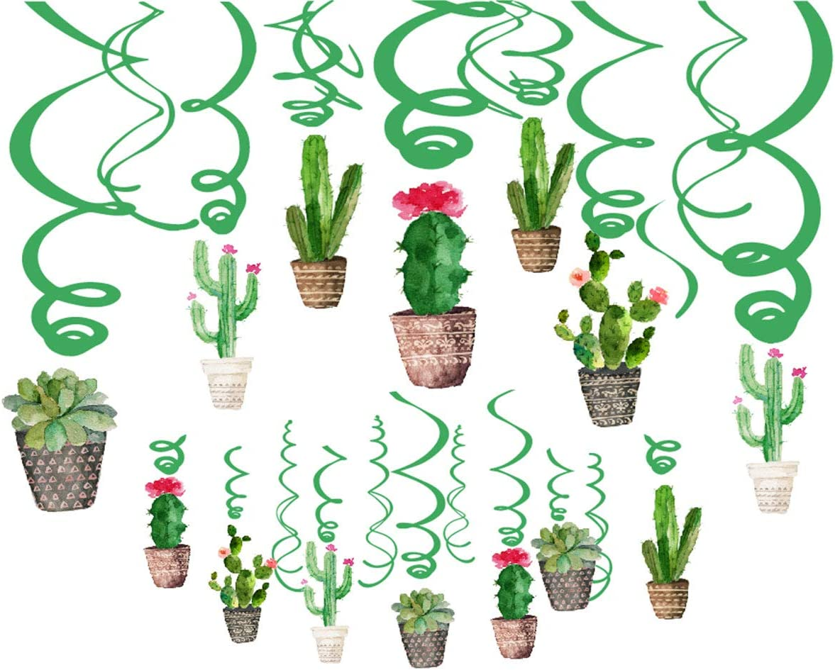 Cactus Hanging Ceiling Swirl Decoration(30Pcs Fully-Assembled),Cactus Swirls Birthday Party Decorations