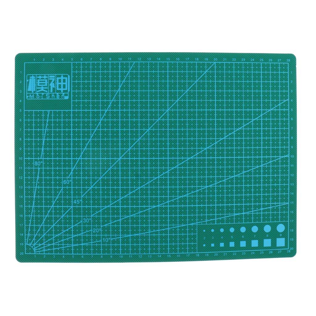 D DOLITY A3 A4 A5 Cutting Mat Self Heal Printed Grid Line Cutting Board Crafts Models - Green, A3 45x30cm