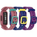 3-Pack BabyValley Compatible with Fitbit Ace 3 Soft Silicone Wristband for Kids, Waterproof Fitness Sport Strap for Ace 3 Tra