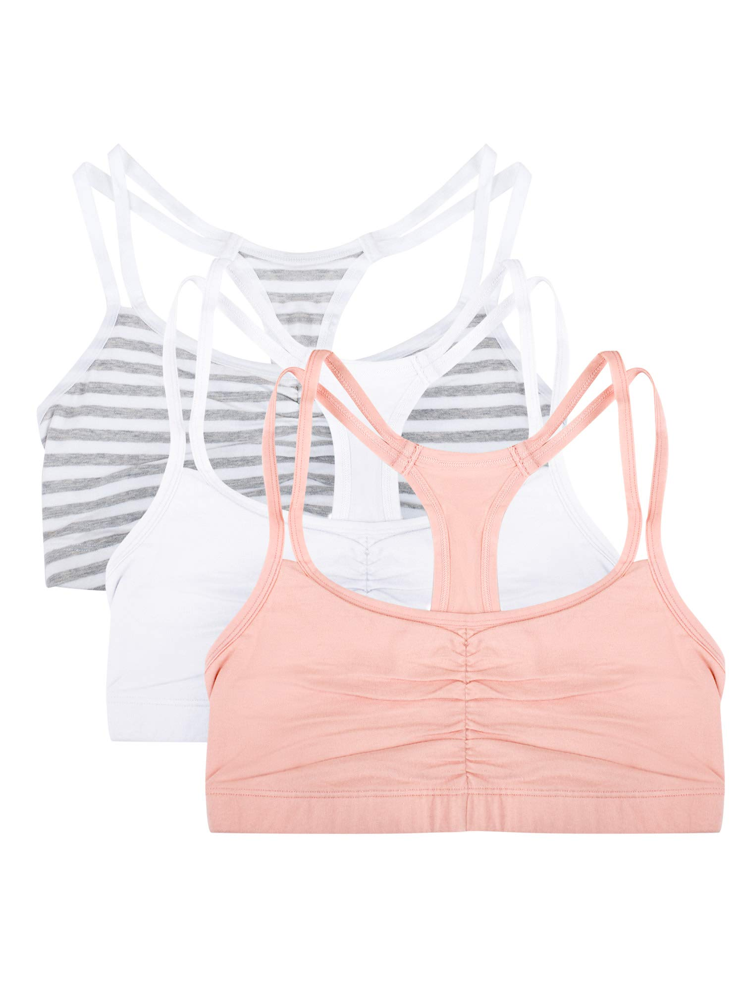 Fruit of the Loom womens Cotton Pullover Sport Bra, skinny stripe/white/blushing rose 38 by Fruit of the Loom