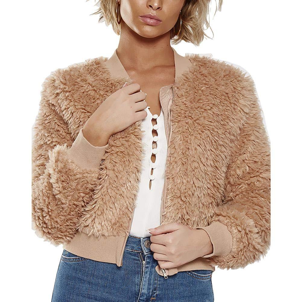 Women Jackets Autumn Winter Cardigan Plush Girl Zipper Short Coat Outerwear
