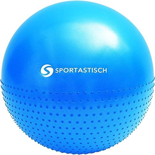 """55cm Gym Fitness /& Sitzball E-Book /& bis zu 3 Jahren Garantie f/ür Vergleichssieger* Sportastisch Gymnastikball /""""Workout Ball/"""" mit Ballring /& Trainingsb/änder oder Massage Gym Ball mit Noppen"""