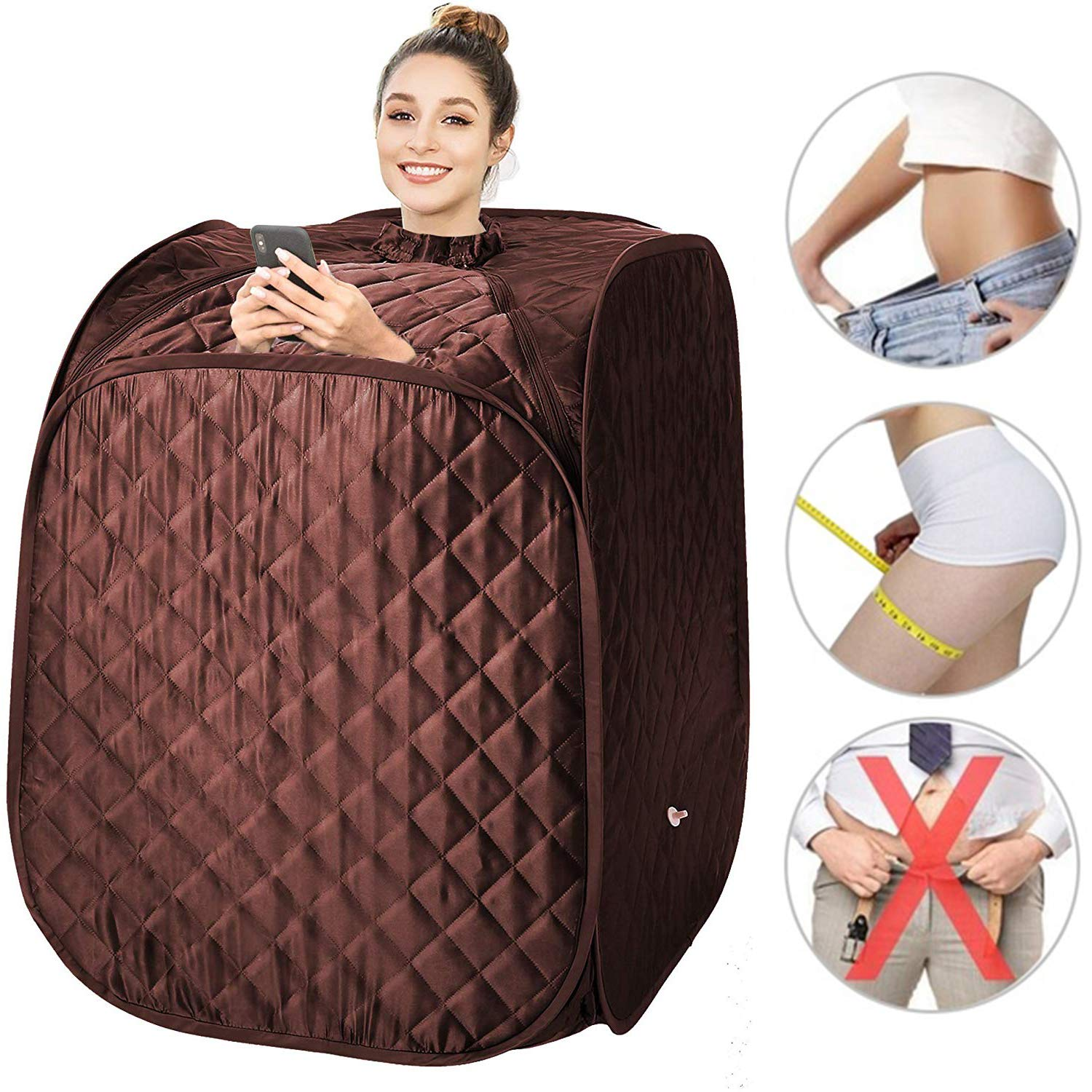 pardise 2L Portable Steam Sauna, Folding Personal Home Sauna Spa Tent Slim Weight Loss Detox Therapy, One Person Sauna with Remote Control,Timer, Foldable Chair US Plug Coffee