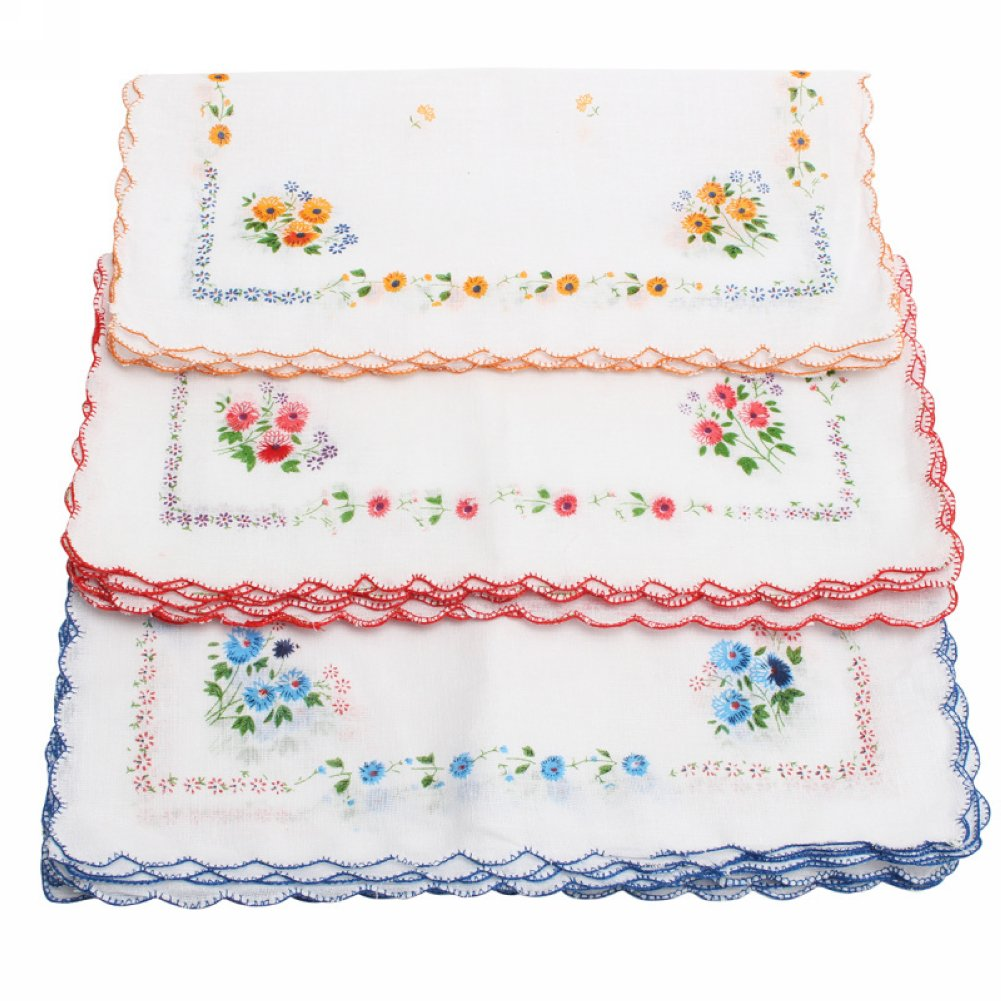 12 Pcs Women's Ladies Vintage Cotton Square Shape Floral Handkerchief Gifts Refaxi
