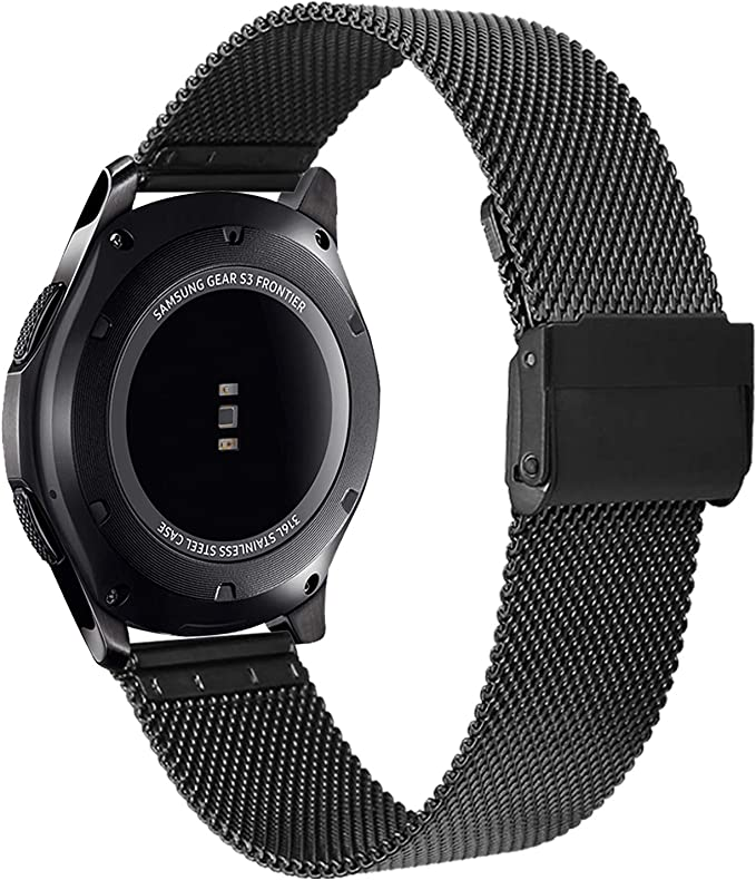 V-MORO Strap Compatible with Gear S3 Frontier Bands/Galaxy Watch 46mm Band 22mm Black Loop Mesh Stainless Steel Metal Bracelet Compatible with Samsung ...
