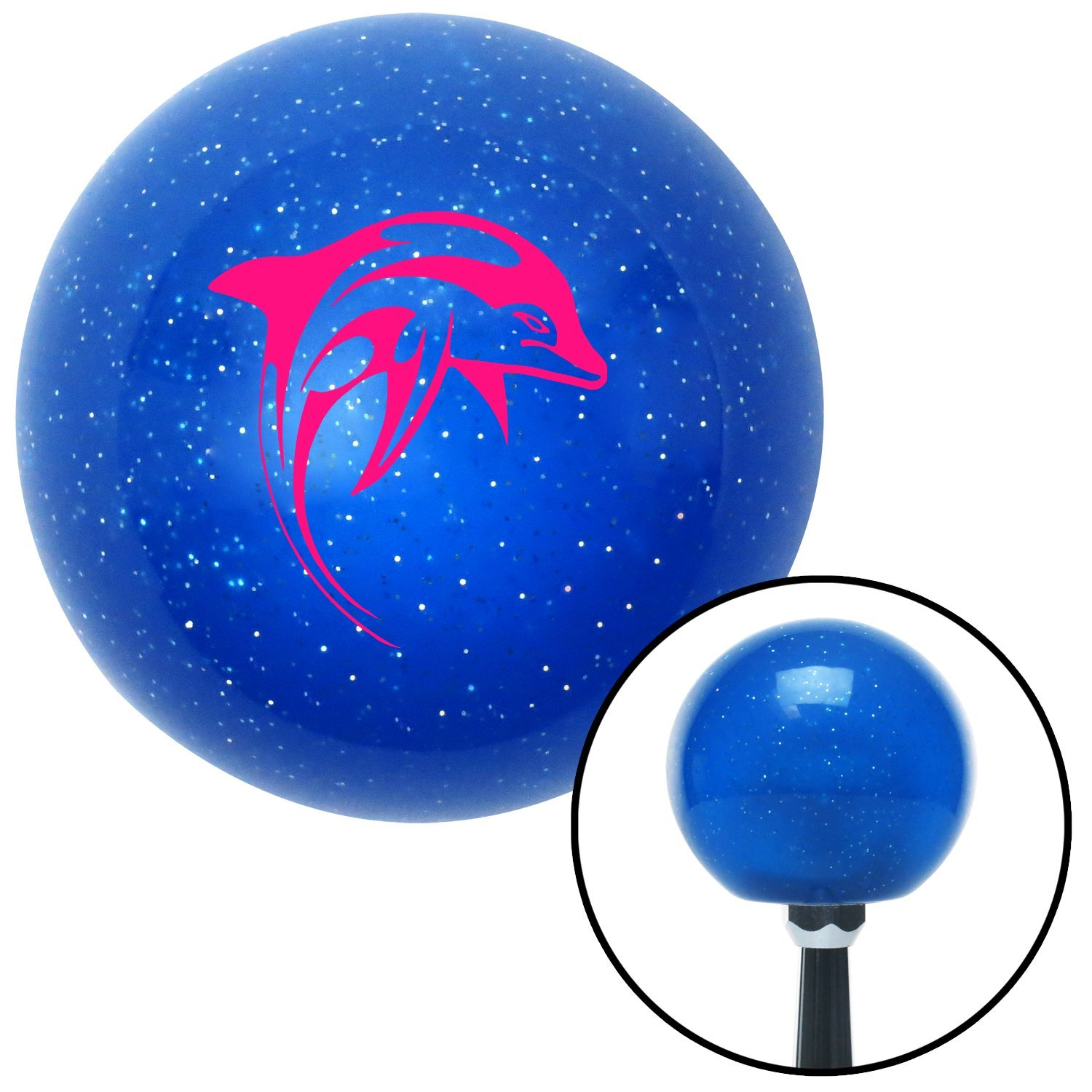 Pink Marine Dolphin 2 American Shifter 25780 Blue Metal Flake Shift Knob
