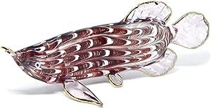 NaCraftTH Handicraft Figure Murano Glass Artwork Arowana Dragon Fish Animal Sculpture Feng Shui Home Fish Tank Aquarium Decor