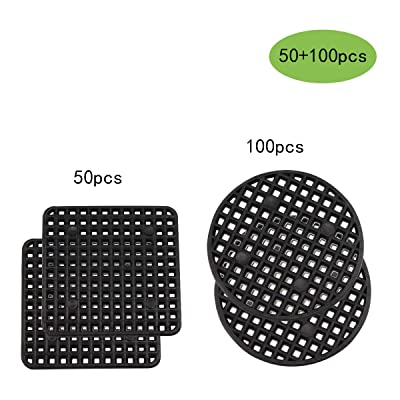 Flower Pot Hole Mesh Pad, 100PCS 2.2 Inches Round Bonsai Pot Bottom Grid Mat Mesh, 50PCS 2.2 x 2.2 Inches Square Garden's Drainage Plastic Drainage Screens Breathable Gasket for Outdoor Potted: Garden & Outdoor