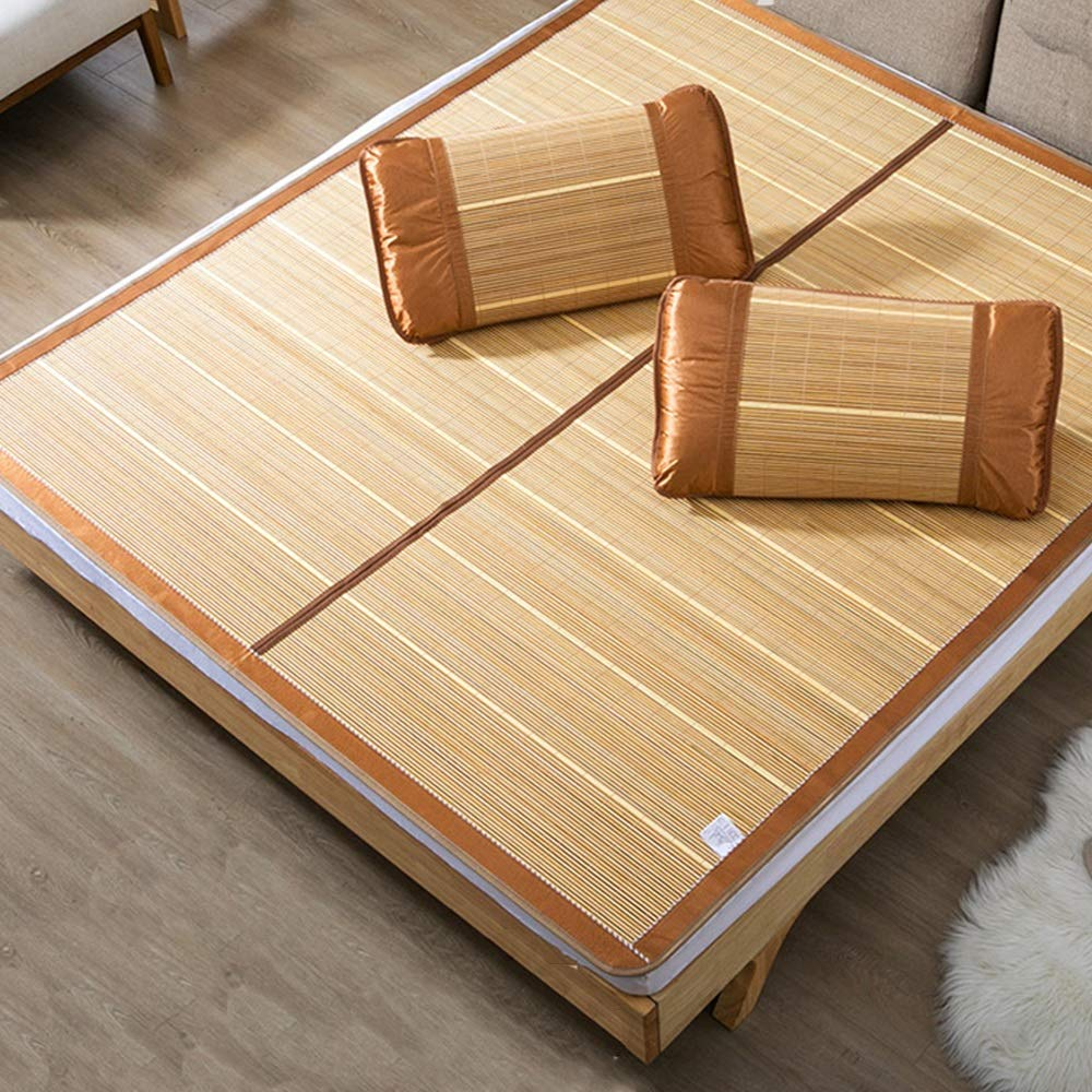 C 1.8x2.0m GYZ Summer Sleeping mat-Summer Student Dormitory Double Single Foldable, carbonized Bamboo Cool Summer Sleeping mat, a Variety Mattress pad (color   B, Size   1.5x1.95m)
