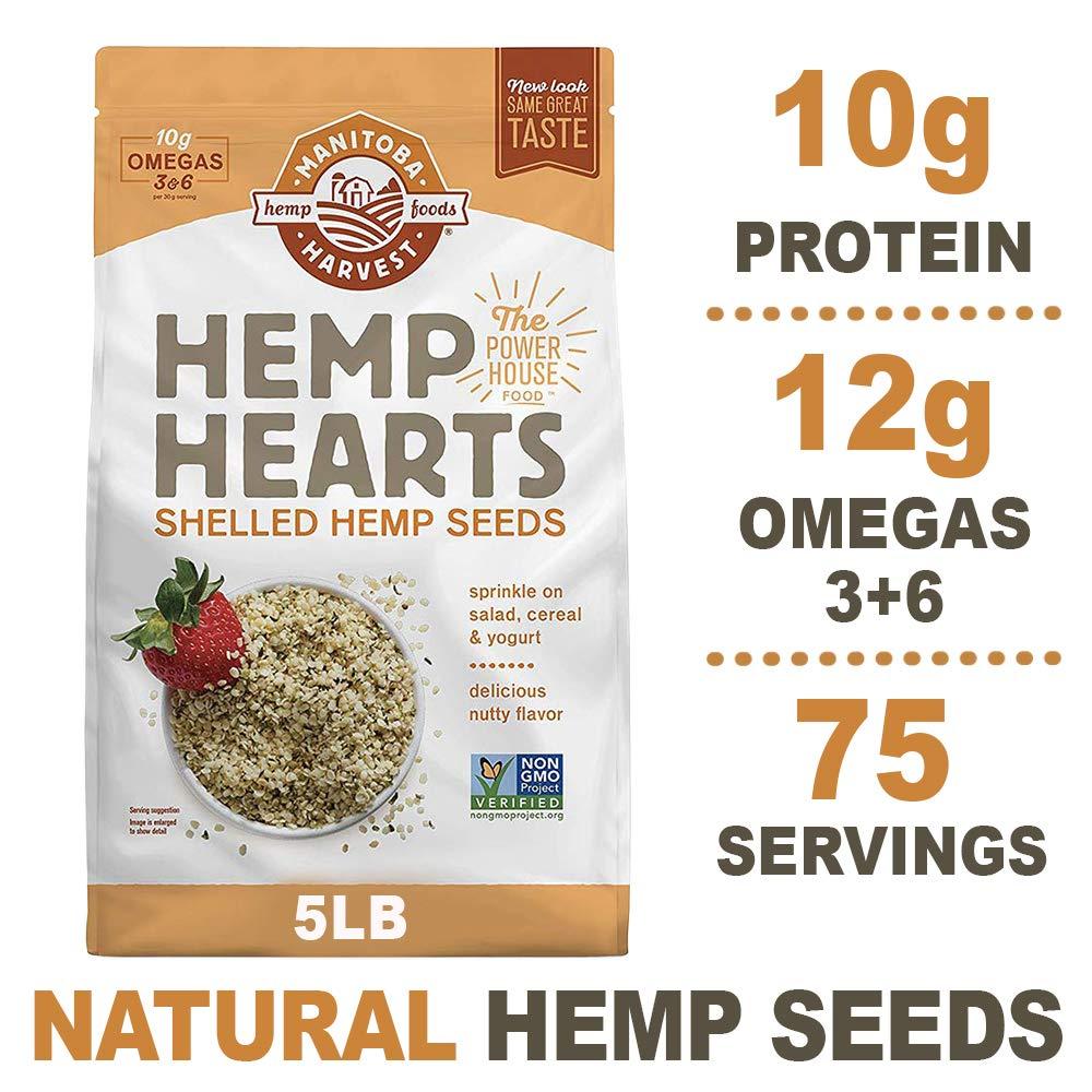 Manitoba Harvest Hemp Hearts Raw Shelled Hemp Seeds, 5lb; with 10g Protein & 12g Omegas per Serving, Non-GMO, Gluten Free by Manitoba Harvest