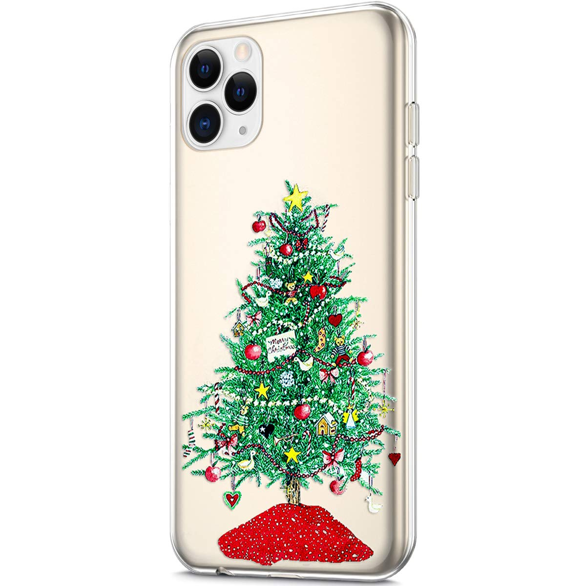 Case for iPhone 11 Pro Max,Crystal Clear Xmas Christmas Snowflake Design Soft TPU Ultra-Thin Transparent Flexible Rubber Gel TPU Case Cover for iPhone 11 Pro Max Silicone Case,Girl Christmas Tree