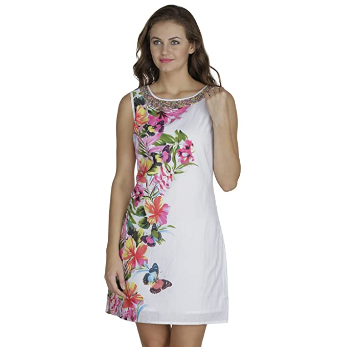 1c132d6a3a43e RITU DESIGNS Cotton White color midi dress with pink floral print  (2920L_white_Large): Amazon.in: Clothing & Accessories