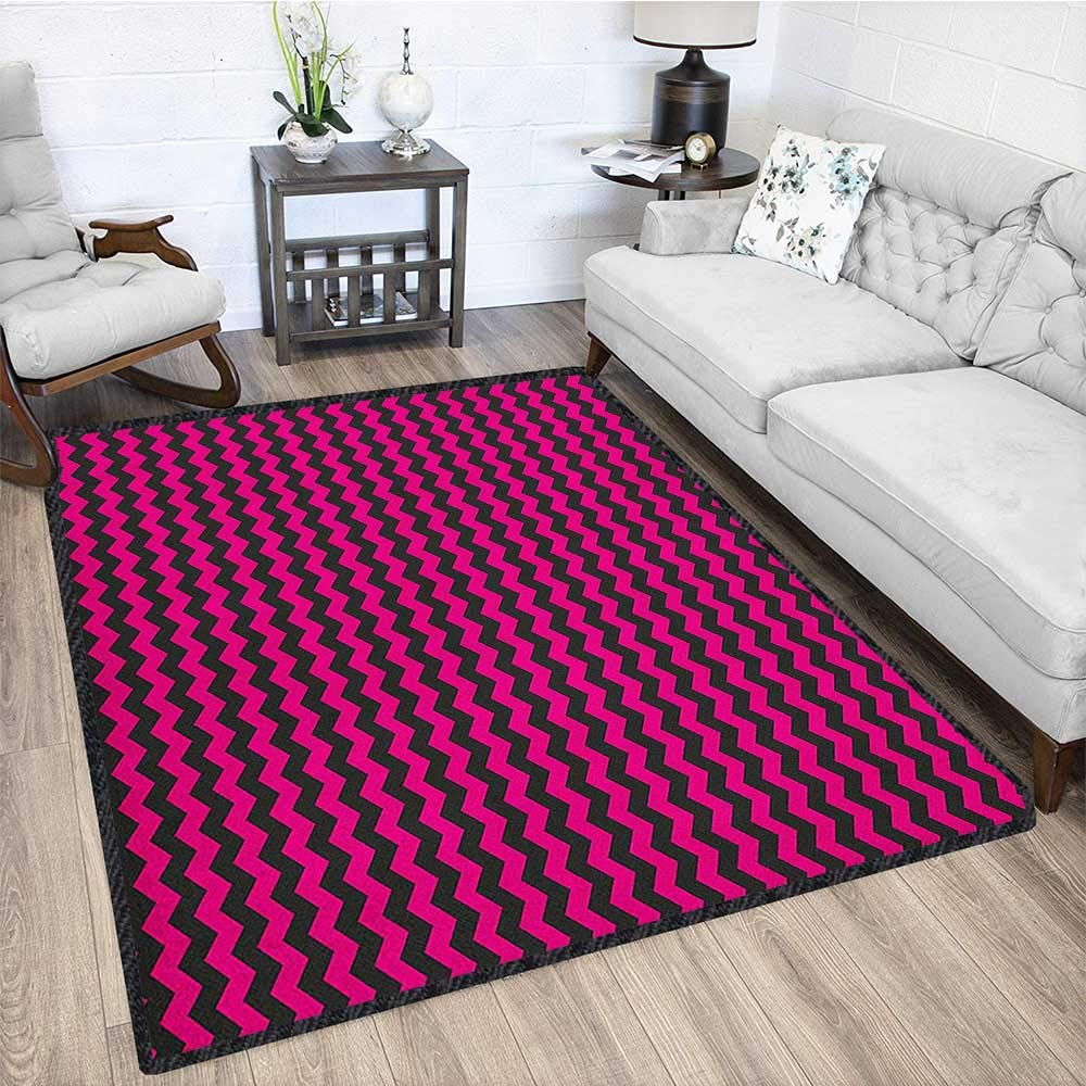 Teen Room Modern Area Rug with Non-Skid,Zigzag Chevron Pattern with Curved Stripes Minimalist Abstract Design Anti-Static,Water-Repellent Magenta and Black 67''x102'' by Philip C. Williams