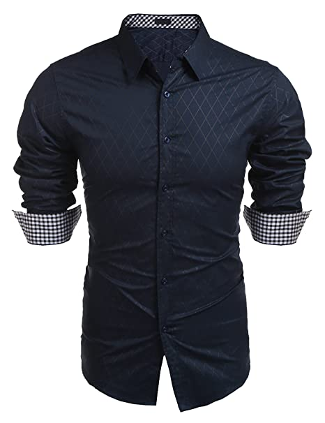 b1de5fe956d0 bridene Mens Shirt Long Sleeve Plaid Button Fashion Checked Dress Shirts  for Business Work Casual Cowboy: Amazon.co.uk: Clothing