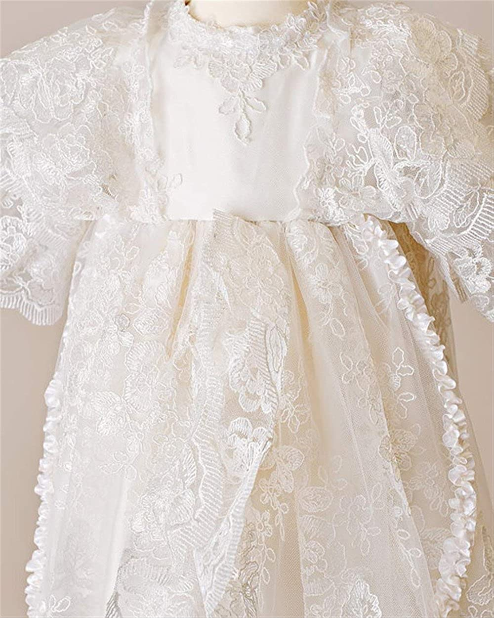 Newdeve Short Sleeve White Lace Christening Baptism Gowns Long With Headband