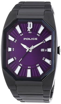 police men s automatic watch purple dial chronograph display police men s automatic watch purple dial chronograph display and black stainless steel bracelet 13755jsb