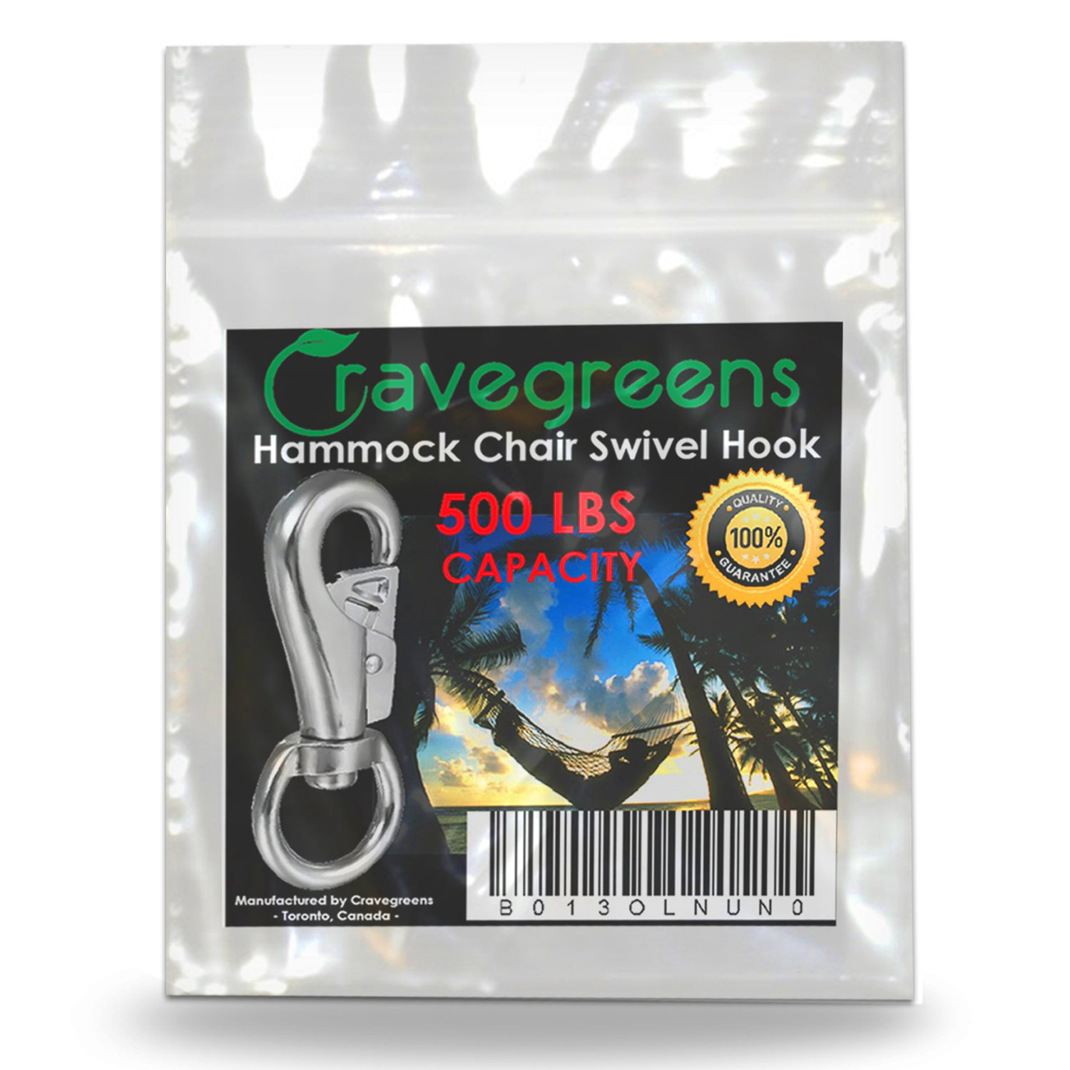 Hanging Chair/Hammock Chair Swivel Hook Snap by 500 LB Capacity - Outdoor/Indoor by Cravegreens (Image #4)