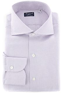 Finamore Napoli Checkered Button Down Cutaway Collar Cotton Blend Slim Fit Dress Shirt