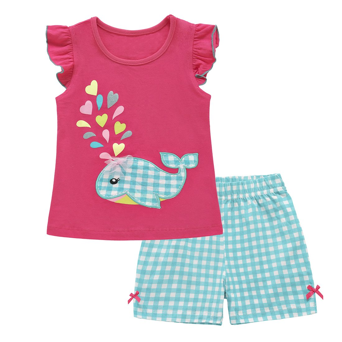 ChicNChic Toddler Baby Girls Summer Clothes Whale Print Top with Plaid Shorts Outfits Set (5T, Pink)