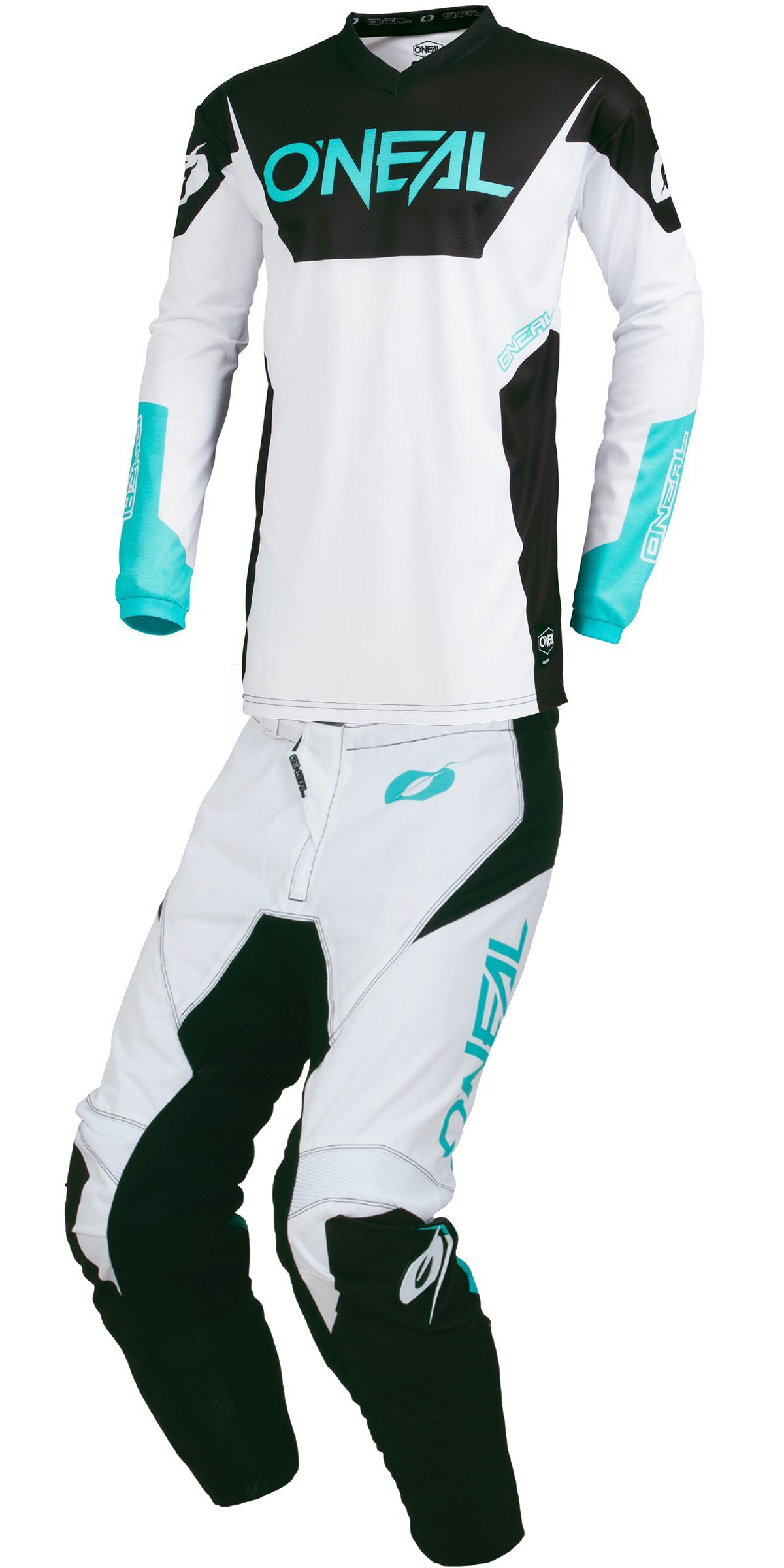 O'Neal - 2019 Element Racewear (Mens White & Teal Blue & Black X-Large/34W) MX Riding Gear Combo Set, Motocross Off-Road Dirt Bike Moisture Wicking Jersey & Light Weight Durable Stretch Panels Pant