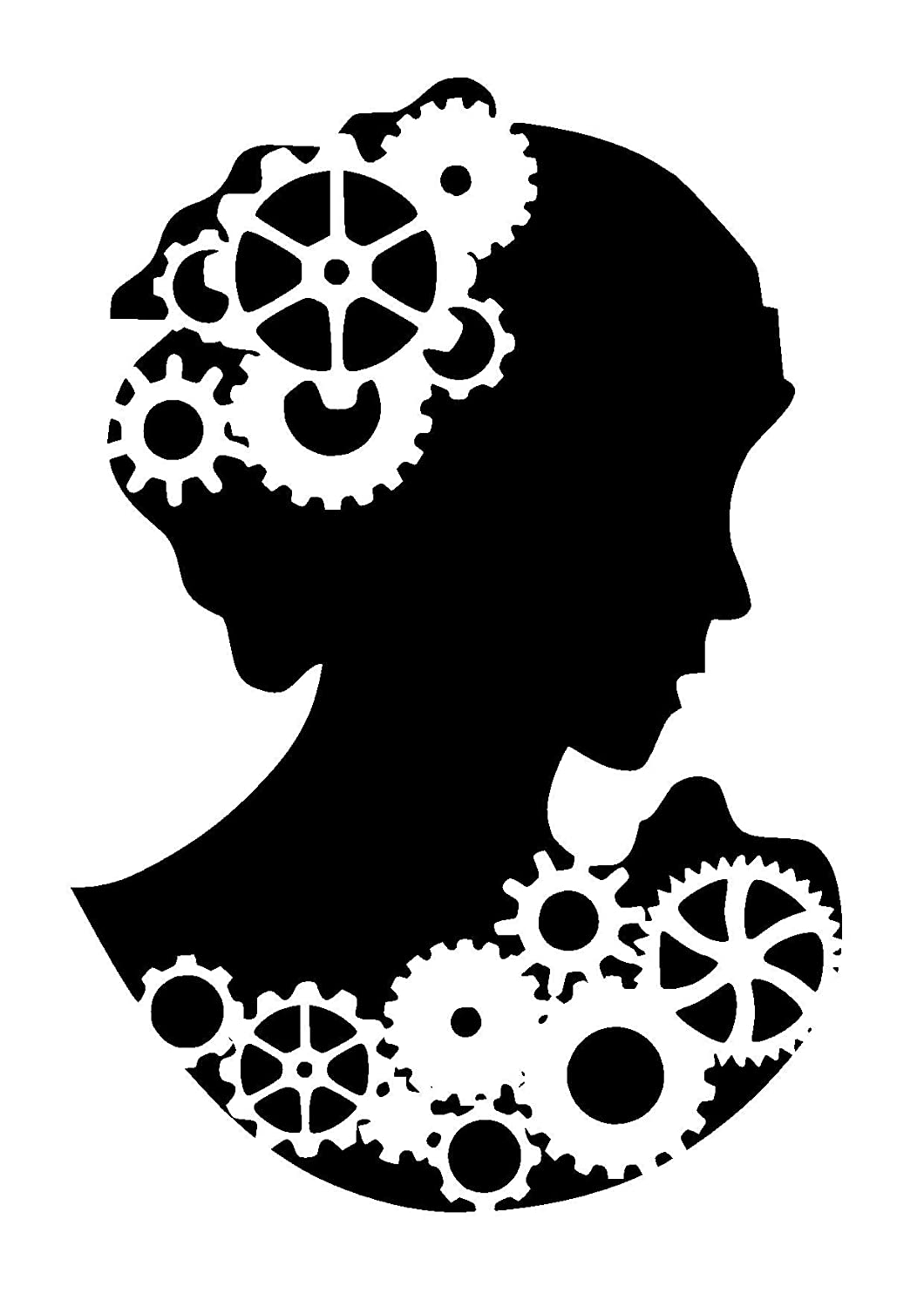 Steampunk cogs cameo/lady silhouette stencil. Choose size and thickness.