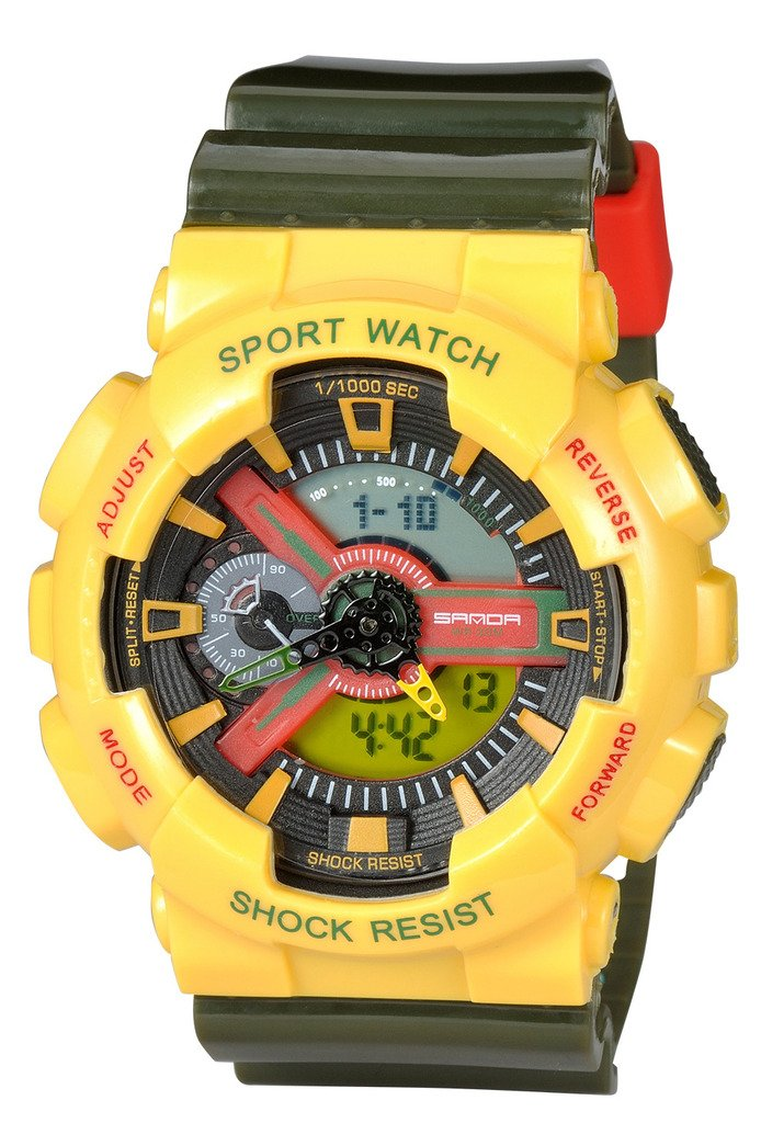 Kid's Dual Dial Analog Digital Watch Chronograph Sport Wrist Watch Yellow+Green by YLJHCYGG