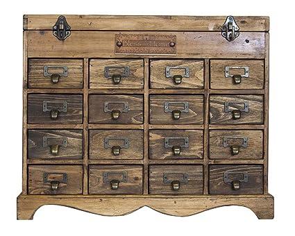 Cajonera de madera con 16 cajones industrial H41 X 49 X 24 ...