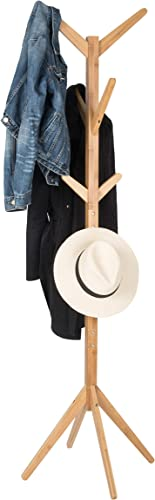 Bamboo Coat Rack with 8 Hooks to Hang Jackets, Clothes, Hats, Tree Coat Rack Stand with Robust and Sleek Design, Perfect for Entryway or Hallway, Very Easy Assembly, Classic Wood Color