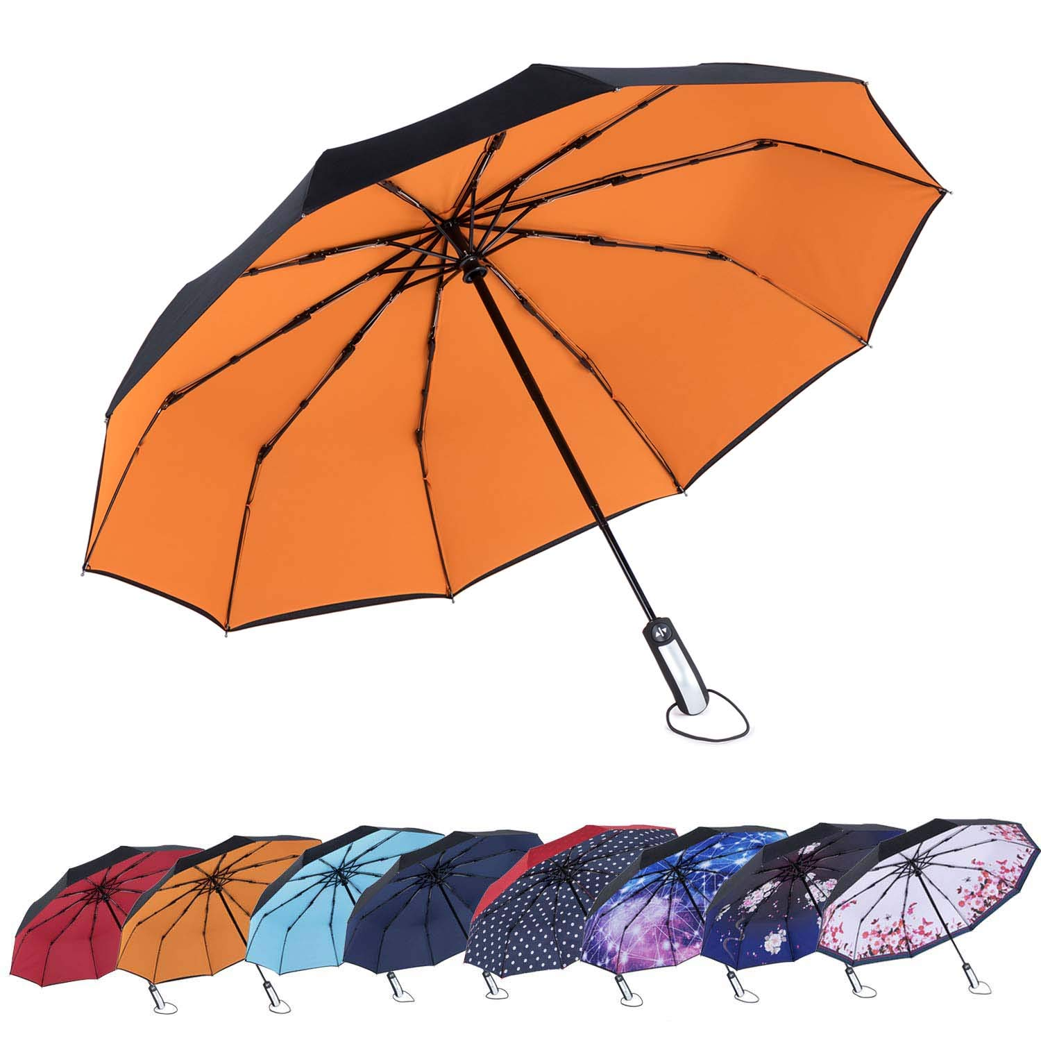 Cute Sloth Riding Llama Automatic Folding Umbrella Sunshade Tri-fold Rain Umbrella