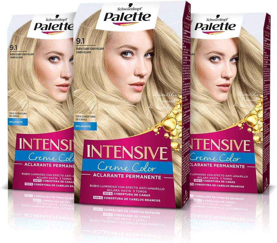 Schwarzkopf Palette Intensive Creme Color – Tono 9.1 cabello Rubio Claro Helado (Pack de 3) - Coloración Permanente de Cuidado con Aceite de Marula, cobertura de canas, Color duradero hasta 8 semanas
