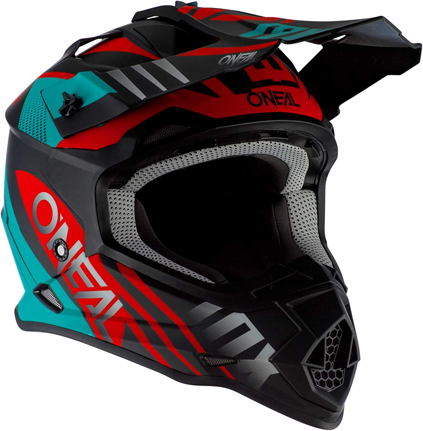 ONeal 2Series Spyde 2.0 Moto Cross Helm Downhill All Mountain Bike Gel/ände Enduro Quad Offroad Gr/ö/ße L Farbe T/ürkis Rot 0200-4