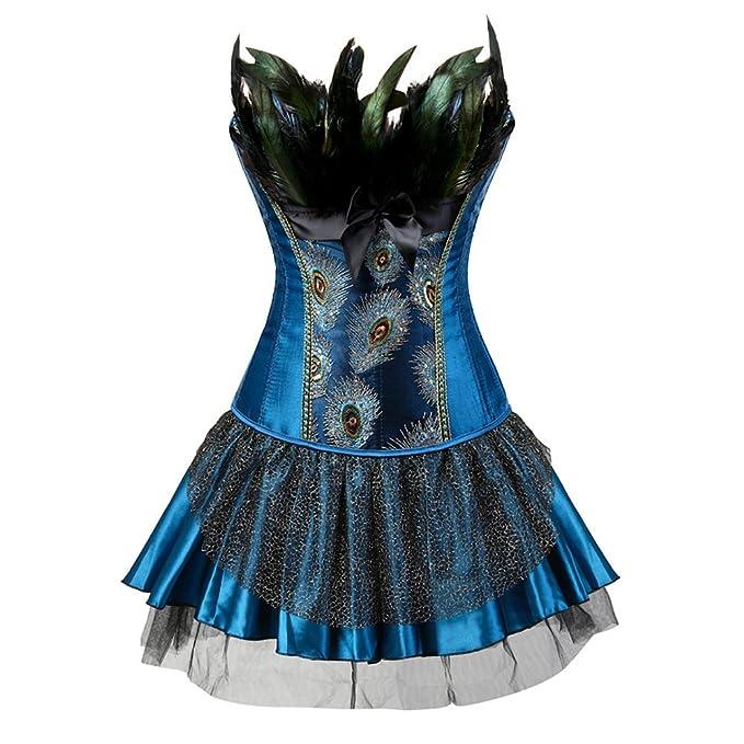 FeelinGirl Vintage Gótico Corsé Pavo Real Bustier con Falda para Mujer Azul S
